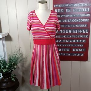 ND New Directions | PL striped sweater dress pink